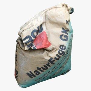 3D cement bag pack model