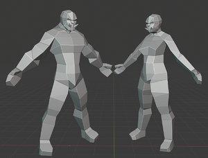 male female orc 3D model