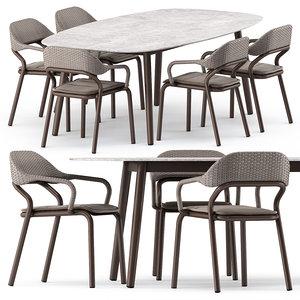 3D noss armchair ellisse table