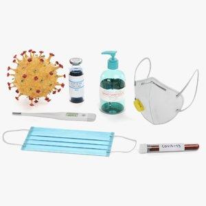 3D covid-19 virus disinfectant model