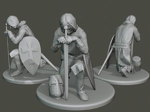 3D knight templar praying t1