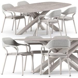 noss armchair star table 3D model