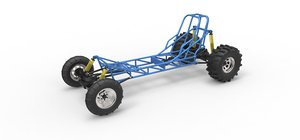 3D model dragster chassis mud
