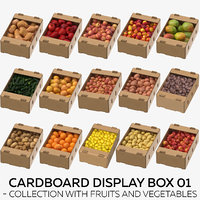 Cardboard Display Box 01 - Collection with Fruits and Vegetables