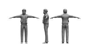 old man farmer 3D model