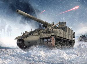 3D tank 155mm gmc m40 model