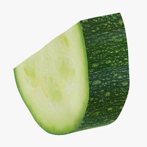 realistic half zucchini slice 3D model