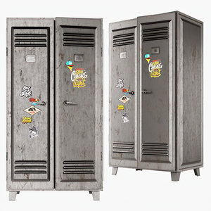 3D metal locker grey