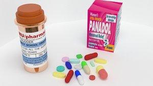 3D tablets pills bottel model