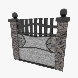 stone fence wall 3D model