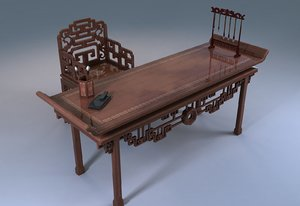 asian wooden tables chairs 3D