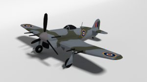 hawker typhoon wwii airplane 3D model