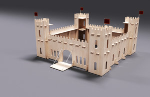 toy medieval castle plywood 3D model