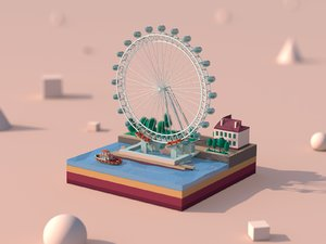 cartoon landmark 3D model