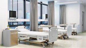 interior hospital ward set 3D model