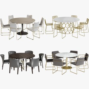 realistic dining tables chairs 3D