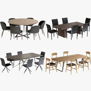 3D model realistic dining tables chairs