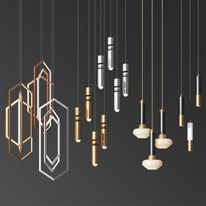 hanging light set 05 3D model