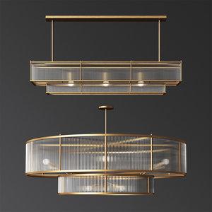 marais linear chandelier set 3D model