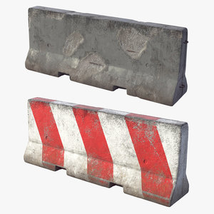 pbr concrete barrier 3D model