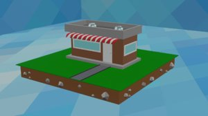 cartoon kiosk small market 3D