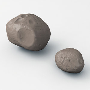 3D martian moons deimos phobos model