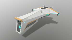 low-poly sci-fi space aircraft 3D
