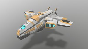 3D model low-poly sci-fi space aircraft