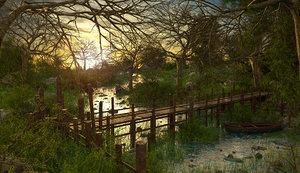 landscape river nature 3D model