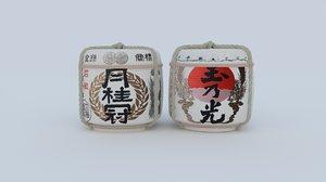 japanese sake barrels 3D