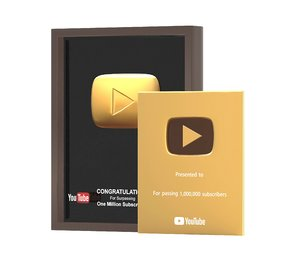 3D youtube gold play button