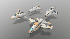 low-poly sci-fi space aircraft 3D model