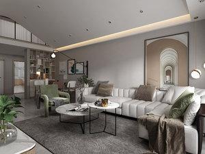 livingroominteriorloftloungediningrealisticmodernscenehomephotorealvrayluxuryapartment sofa model