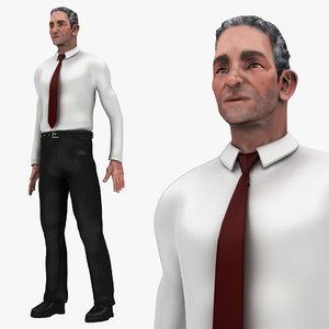 3D model bussiness man 1 pose