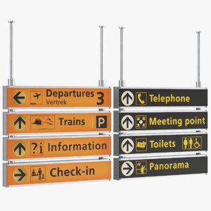 real airport signs model