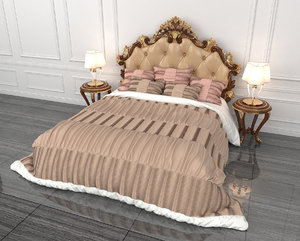 bed carved european 3D model