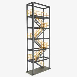 stair tower galvanized industrial 3D model