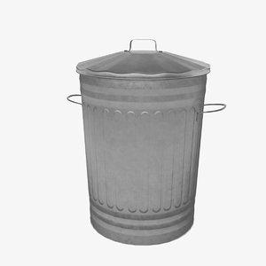 3D galvanised dustbin bin