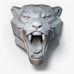3D roaring leopard sculpture model