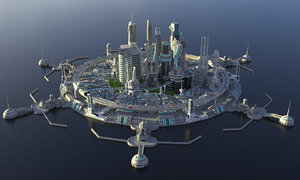 3D modern city buildings