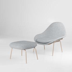 rowan chair ottoman 3D model