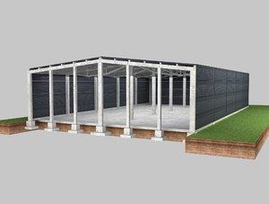 3D model hangar industrial