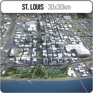 city st louis surrounding 3D model
