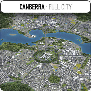 3D city canberra surrounding -