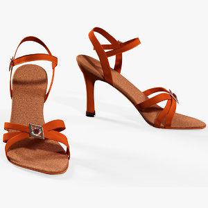 3D female sandals dancing model