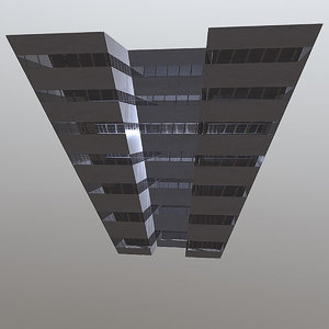 3D dystopian block building model