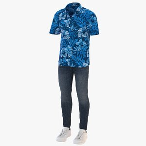 3D men short sleeve shirt model