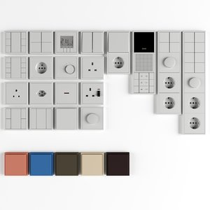 3D switch les corbusier sockets model