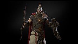 character hero old warrior 3D model
