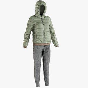 3D realistic women s jeans model